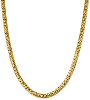 14k Yellow Gold 6.25mm Solid Miami Cuban Chain Necklace 20 Inch Pendant Charm Curb Domed Fine Jewelry Gifts For Women For Her