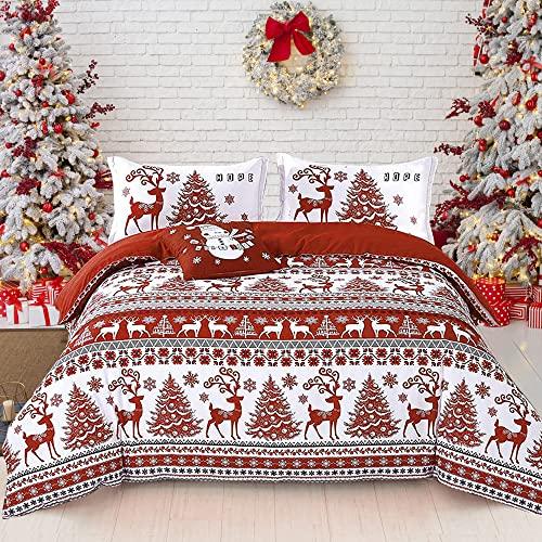 Juego de funda de edredón de Navidad, 2 piezas, diseño de copo de nieve, diseño de ciervo rojo, funda de edredón con cierre de...