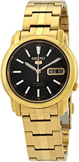 Seiko #SNKL88 Men's Gold Tone Stainless Steel Black Dial Automatic Watch