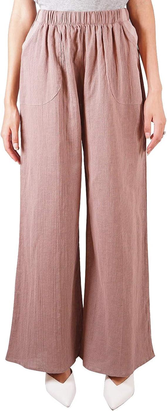 Anna-Kaci Women Linen Wide Leg Long Pants Loose Casual Elastic Waistband Pants with Pockets