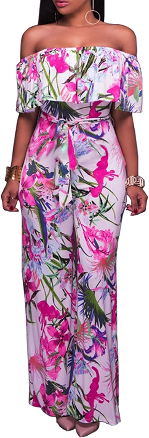 QueenSeven Women Sexy Floral Printed Wide Leg Long Jumpsuit Romper Belt