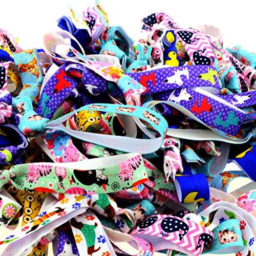 Midi Ribbon 100 Packs Patterns Hair Ties-Kawaii Animal Collection-No Crease Elastic Ribbon Ponytail Holders Knotted Fold Over Assorted Hair Bands