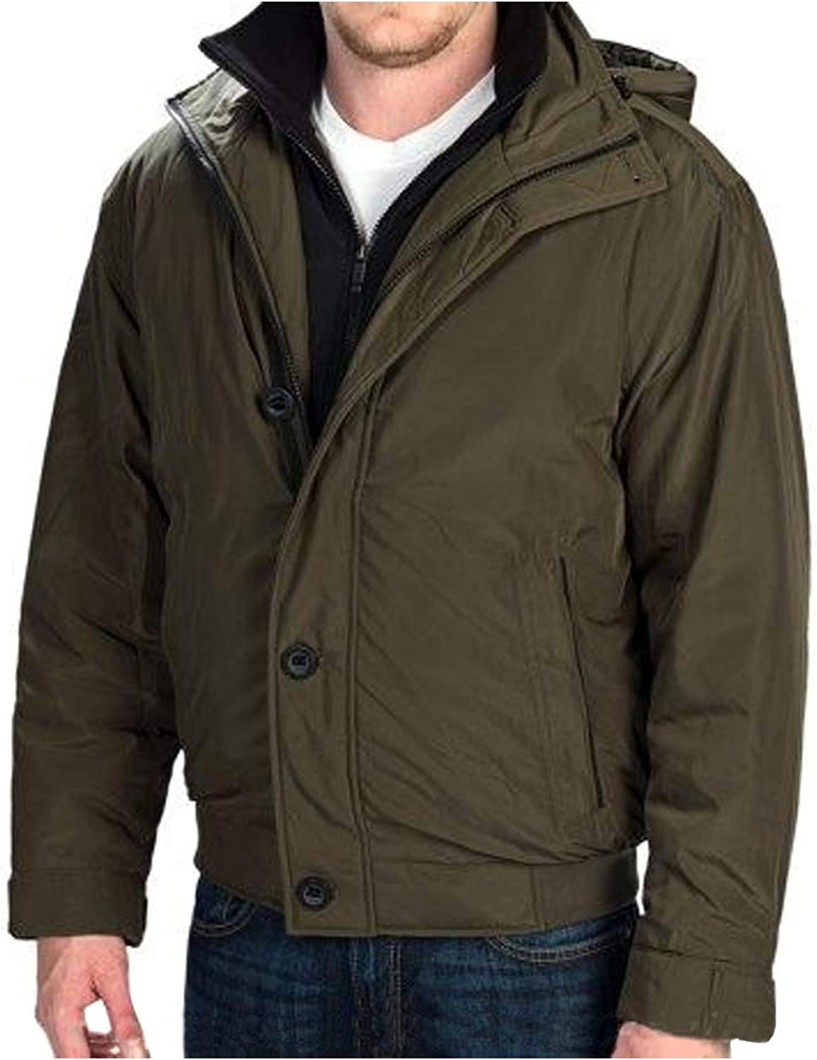 Mens Ultra Oxford Hooded Bomber Jacket (Dill, XX-Large)