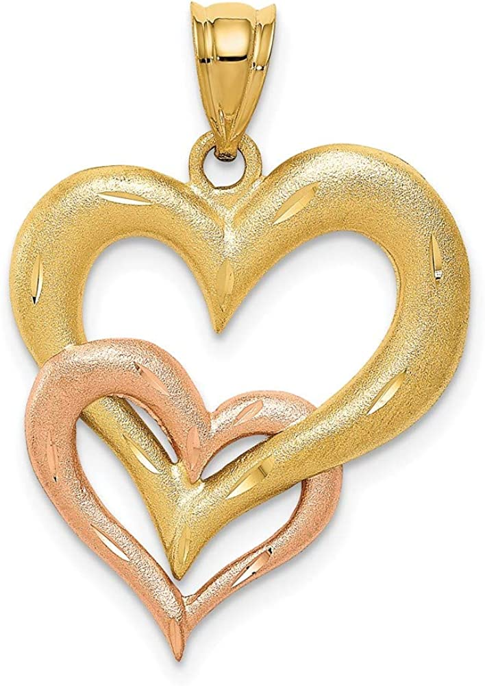 14k Two Tone Yellow Gold Double Heart Pendant Charm Necklace Love Multiple Fine Jewelry For Women Gifts For Her