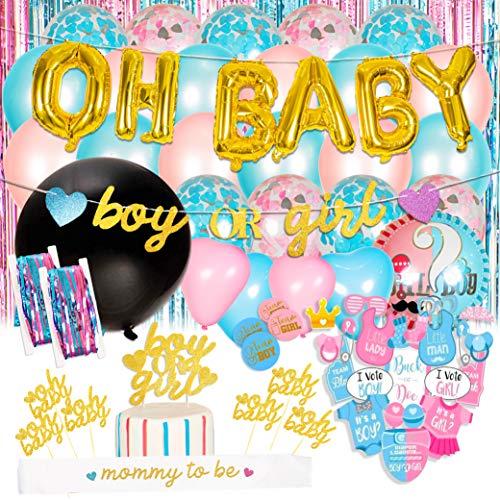 Baby Nest Designs Gender Reveal Party Decorazioni - Boy or Girl Banner, Palloncini di Alluminio, Tenda di Tinsel, Photo Props, Cupcake Toppes, Mom to Be Sash e Alto Ancora!