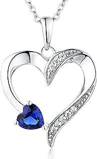 Heart Necklace 925 Sterling Silver Love Heart Pendant with 5MM5MM Heart Blue Sapphire/Ruby/Pink/Amethyst/Cubic Zirconia Birthstone Women Jewelry