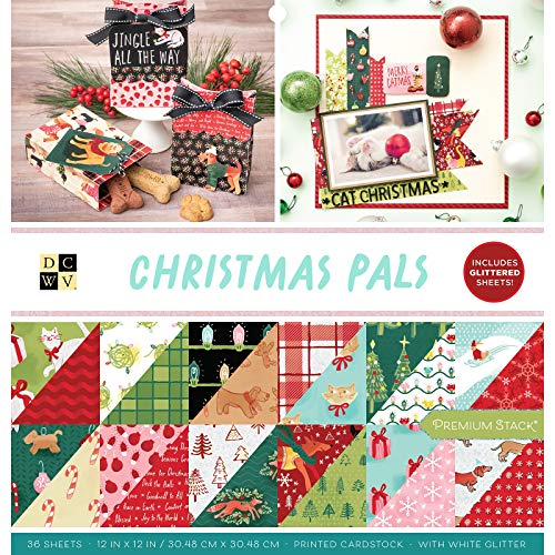 DCWV Christmas Pals W/Glitter Accents Cardstock, Multi 36 Pack