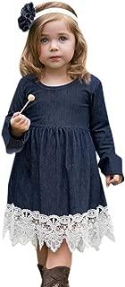 Toddler Infant Fashion Dress Baby Girls Denim Flare Sleeve Dress Lace Splice Sundress Clothes