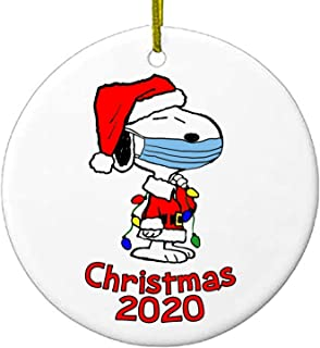 Best 2020 Christmas Ornaments | Snoopy with mask | Charlie Brown Peanuts | Cute Ceramic Holiday Gifts | Serenity Home Goods Review