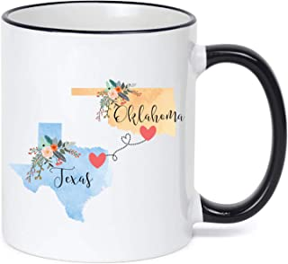 Texas Oklahoma Mug Coffee Cup Gift Best Friend Mom Girlfriend Aunt Grandma Birthday Mother's Day Going Away Present Moving New Job Gifts
