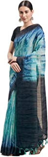 Rajnini Women's Linen Cotton Printed Traditional Saree With Blouse Piece