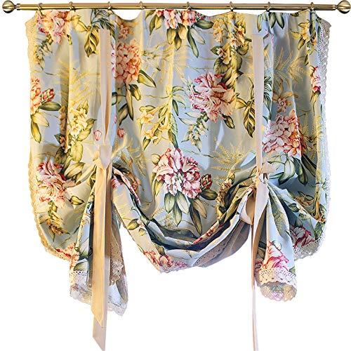 Cortinas americanas con motivos de flores grandes, cortina azul claro para cocinas y cafés, cortinas romanas de encaje estilo palacio barroco con correa de elevación-90x190cm