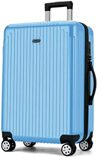 XIAO Suitcase for large capacity business portable hard shell rotating suitcase, black, size (37 * 22 * 57) cm Happy day (Color : Light blue, Size : 18 * 25 * 27 inch)