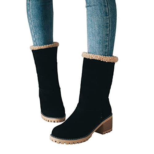 5ff773e67734 Mostrin Women s Winter Snow Boots Waterproof Round Toe Suede Chunky Mid  Heels Warm Fur Ankle Boots
