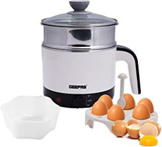 Geepas 1000W Multifunctional 1.7 L Double Layer Kettle - 3-in-1 Cordless Kettle, Steamer and Egg Boiler - Boil Dry Protect...