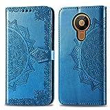 Bear Village Hülle für Nokia 5.3, PU Lederhülle Handyhülle für Nokia 5.3, Brieftasche Kratzfestes Magnet Handytasche mit Kartenfach, Blau