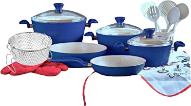 Granite Cookware Set Turkey 18 pcs dark blue color glass lid