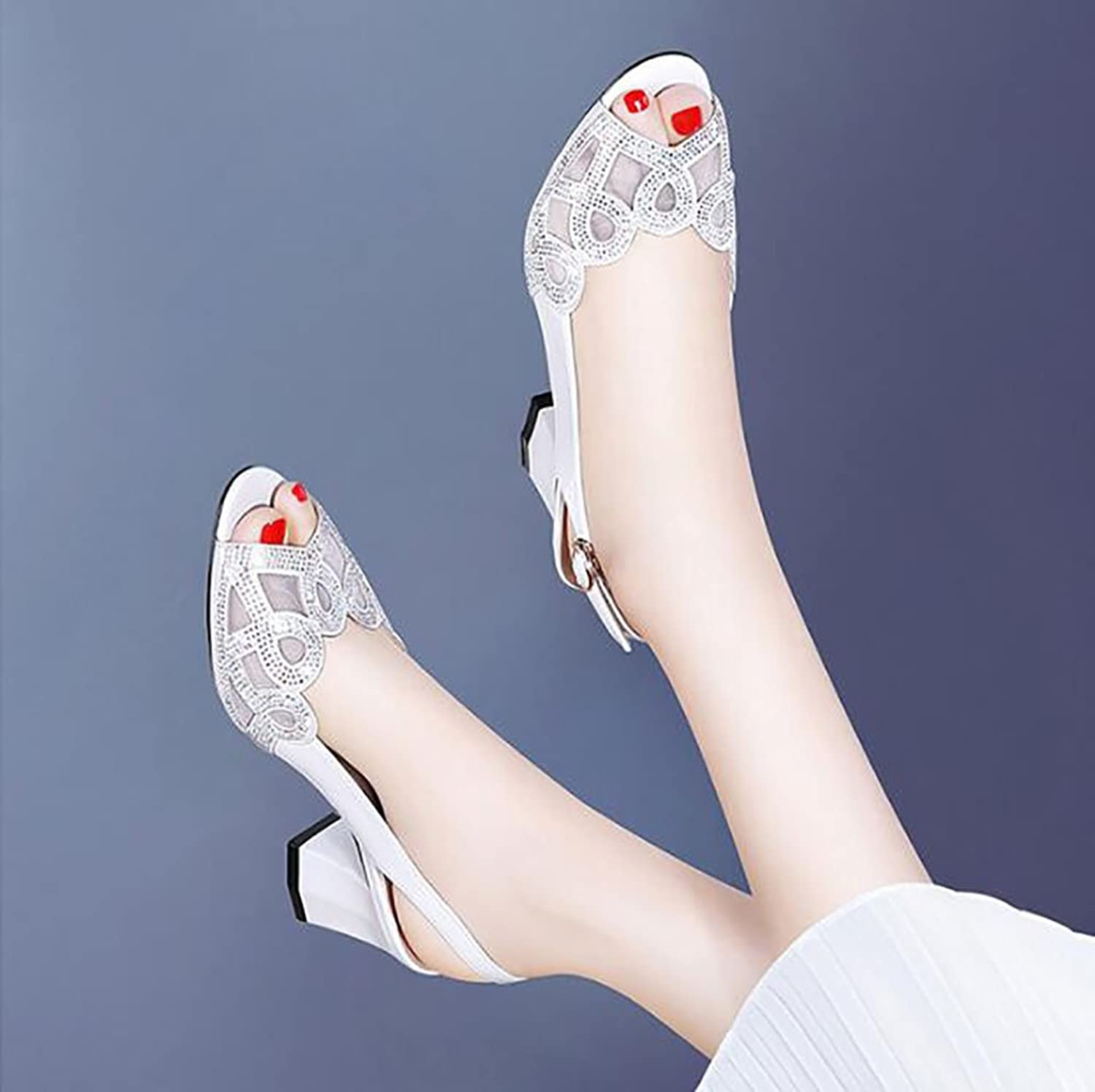 Fish Mouth Ladies Sandals with Summer shoes Wild Korean Sexy high Heels Sandals Flat Sandals,Fashion Sandals (color   B, Size   38)