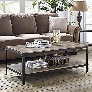 Walker Edison Furniture 48  Angle Iron Rustic Wood Coffee Table - Driftwood