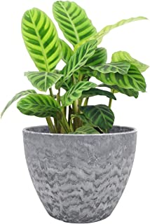 LA JOLIE MUSE Flower Pot Outdoor Indoor Garden Planters, Plant Containers with Drain Hole, Marble (8.6 inches, 1 Pack)