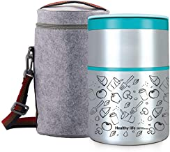 Lille Home 32OZ Vacuum Insulated Stackable Stainless Steel Thermal Lunch box | 2-Tier Bento box/Food Container with Insulated Lunch bag | BPA Free | Leakproof | Adults, Men, Women(Blue)
