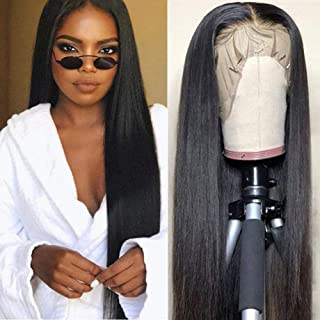 CHEETAHBEAUTY Brazilian Straight Lace Front Wigs Human Hair 13x4 Lace Front Wig For Black Women Pre Plucked with Baby Hair Natural Black 150% Density (22inch)