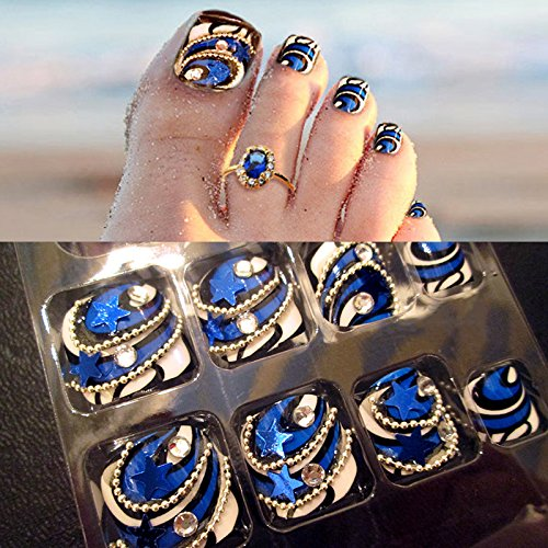 Fashion 24 Pcs/Set 3D Silver Chain Five-Pointed Star Summer Toes Finished Fake Nails,Full Nail Tips,Girl Toe Art Tool Bride 4