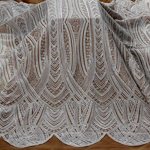 La Belleza 51' Off White Beaded Heavy Embroidery Wedding Dress lace Fabric by Yard