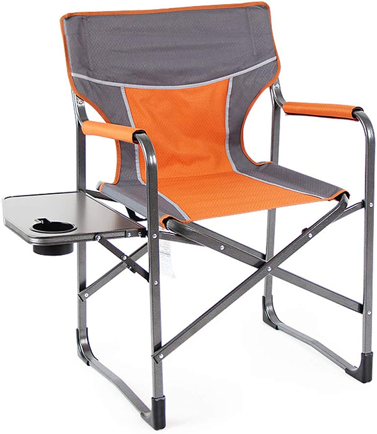 Heavy Duty Portabl Camping Folding Director Chair with Side Table,Yellow