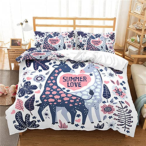 PKUOUFG single duvet cover set bedding Set Zipper king size 59.1x86.14 Inch Blue cartoon giraffe flowers 3d printing bedroom decoration breathable and comfortable polyester fiber soft 1 quilt cover an