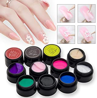 12pcs 3D Sculpture Gel, Saviland Carving Gels Nail Polish for Decoration Patterns Nail Art Kit(White,Pink,Red,Blue,Black)