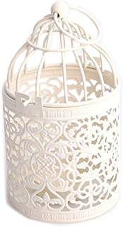 HOMEGOAL Candle Holder, New Vintage Creative Hollow Hanging Bird Cage Candle Holder Candlestick Lantern Party Wedding Home Decor,Best Anniversary, Birthday, Pack of 2(White)