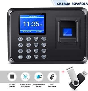 """Thustar Control de Acceso para Empleados USB Máquina de Asistencia Biométrica de Huella Dactilar, sin Necesidad de Red, Pantalla LCD 2,4"""" TFT, Tasa mensual 0 euros (con Disco Flash usb 8G)"""