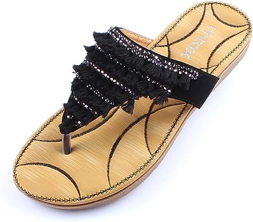 HAIZHEN chaussures pour femmes Filles Fashion Summer Soft Face Toe Sandales décontractées antidérapantes Pantoufles pour 18-40 ans Pour femmes (Couleur   A, taille   EU36 UK4 CN36)