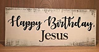 PotteLove Rustic Wood Holiday Sign Happy Birthday Jesus Merry Christmas Farmhouse Style