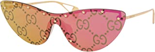 Gucci GG0666S 003 Sunglasses Women's Gold/Pink Mirror Lenses Fashion Shield 99mm