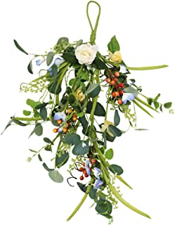 LSME Wall Hanging Teardrop Artificial Rose and Eucalyptus Leaves Wreath for Front Door Garden Home Easter Decoration