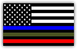 Police Military and Fire Thin Line USA Flag Decal American Flag Sticker Blue Green and Red stripe for cars trucks for honor and support of our officers and troops Vinyl Window Bumper 5 x 3 inch