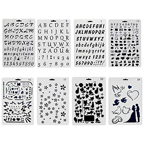 Plantillas de letras para pintar,juego de 8 plantillas de letras y figuras impresas para álbumes de recortes, pintura, dibujo, manualidades, flexibles, reutilizables