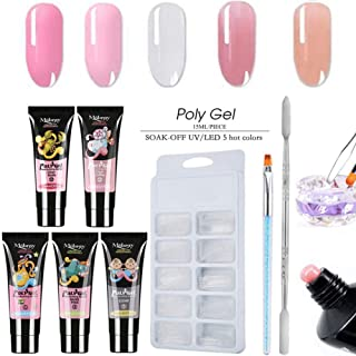 Professional Poly Nail Gel Kit, Nail Builder UV Gel Extension Nail, Come With Nail Brush, Model Nail Tips and Nail Scraper