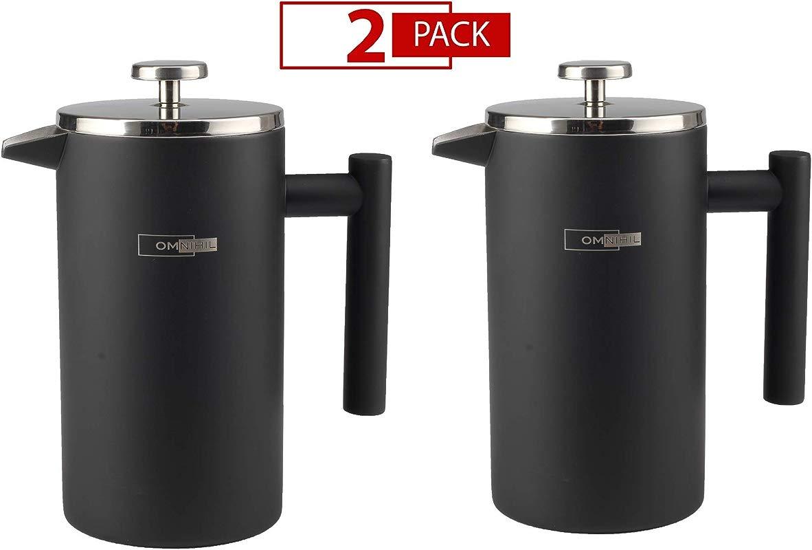OMNIHIL 2 PACK Matte Black French Press Coffee Maker Size 1000ML