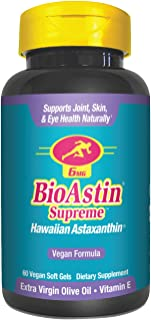 BioAstin Supreme Hawaiian Astaxanthin - 6 mg 60 VEGAN soft gels – Supports Joint, Skin, Eye Health Naturally – A Super-Ant...