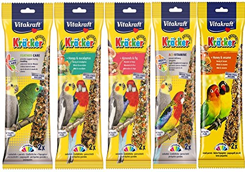 Vitakraft Mixed Vielzahl 5 x Twin Pack 10 Sticks Sittiche Nymphensittiche Aufhängen Käfig BIRD SEED behandelt