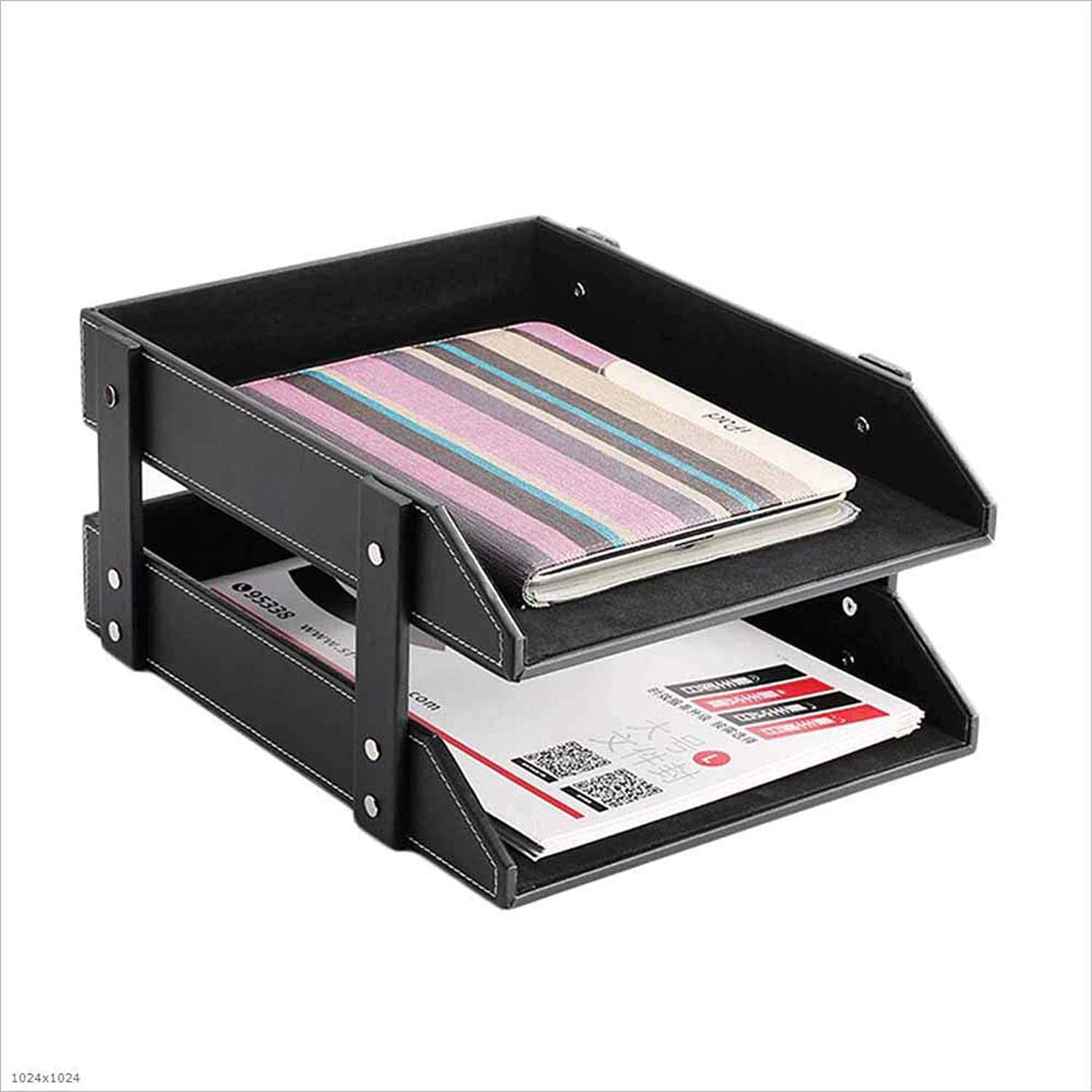 Desktop Leather Office Supplies A4 Paper Storage Box Multilayer File Storage Rack,A