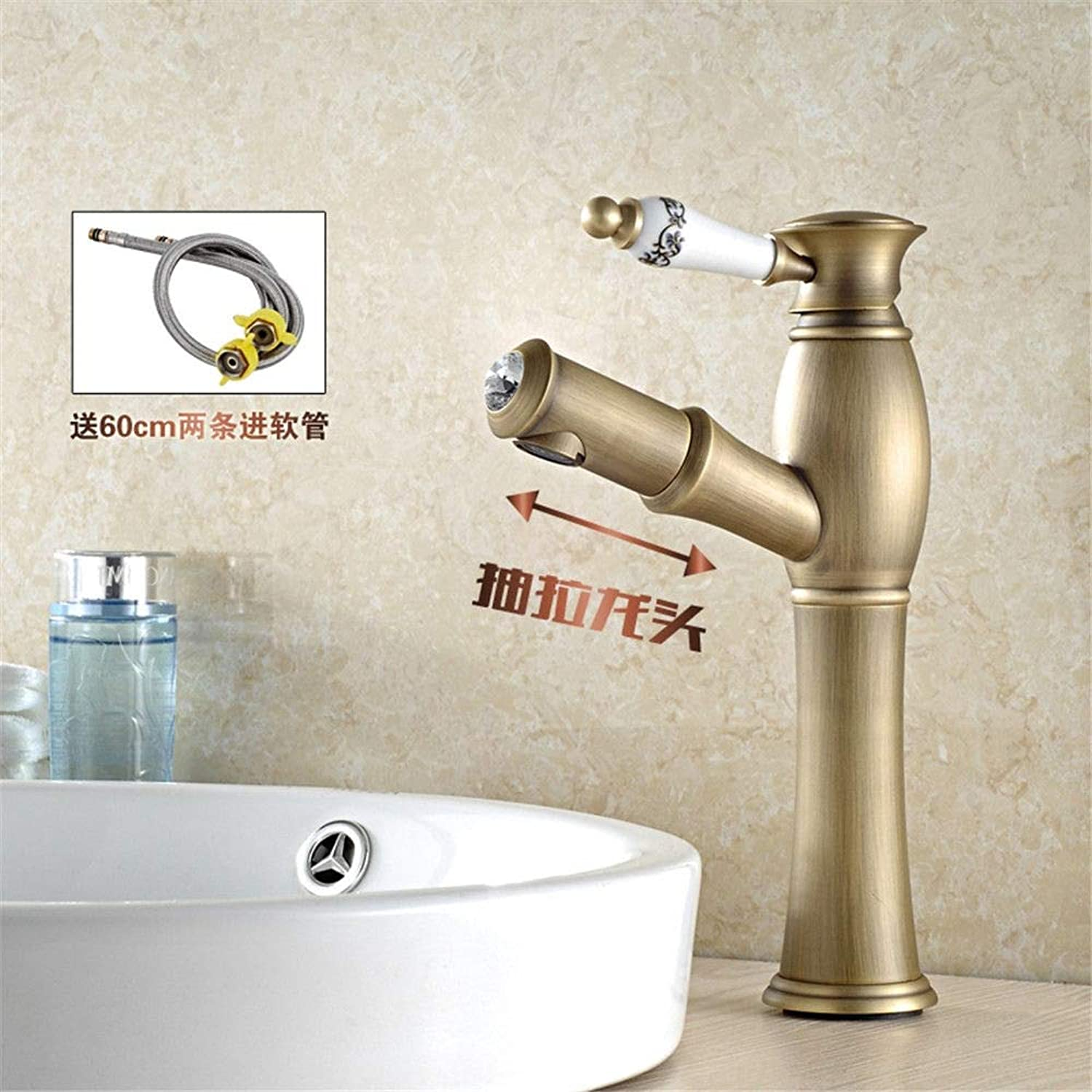Hlluya Professional Sink Mixer Tap Kitchen Faucet Antique and cold water faucets full copper antique faucet,I