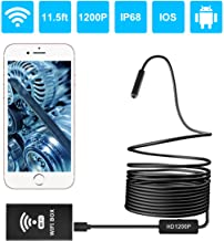 Wireless Endoscope 1200P, WiFi Borescope Inspection Camera 2.0 Megapixels HD Snake Camera with IP68 Waterproof 8 LEDs Lens for Android & iOS Smartphone Tablet Windows and Mac System - Black