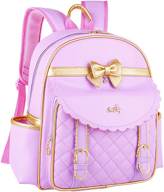 Fanci Waterproof PU BowKnot Primary School Backpack Book Bag for Princess Girls Elementary School Bookbag Ages 912