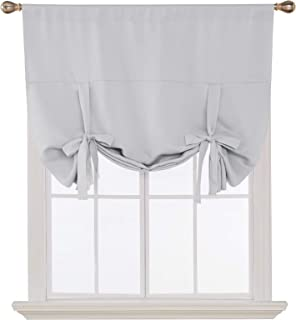 Deconovo Blackout Curtain Tie Up Shade Window Panels for Living Room and Bedroom Greyish White 46W x 63 1 Panel