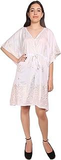 RADANYA Kaftan Tunic Kimono Dress Ladies Summer Women Evening Mini Party Wear Dress - White