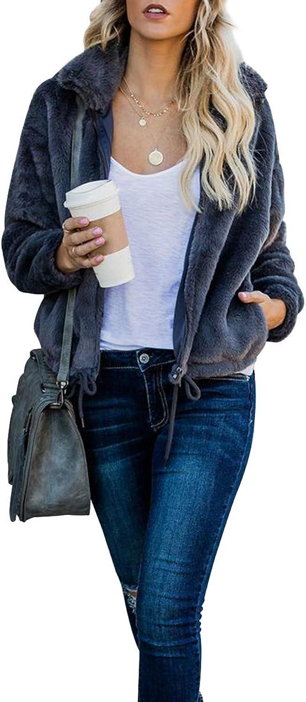 CA Mode Women's Long Sleeve Fuzzy Fleece Zip Up Lapel Cardigan Jacket Coat Outwear